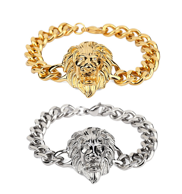 Men's Gold Plated Lion Head Bracelet Cool Fashion Hip Hop Silver Gold Color High Grade Mens Male Jewelry