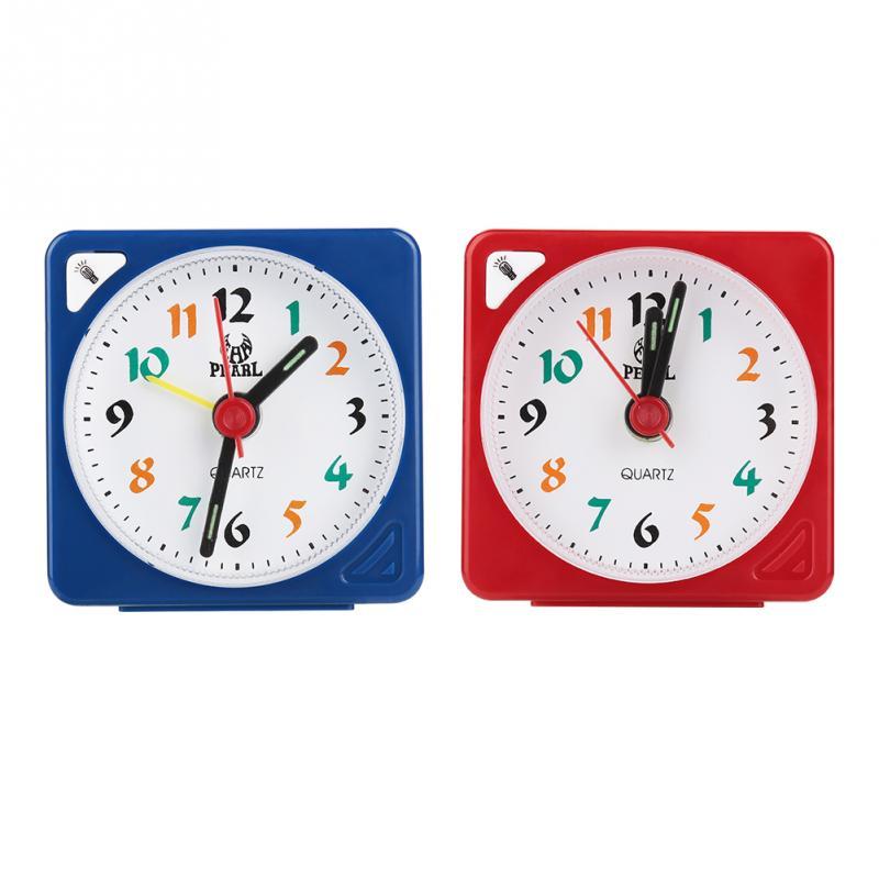 Alarm Clock Analogue Quartz Travel Portable Desk Clock With Snooze /& LED 4#