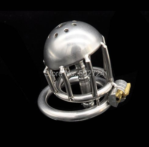 Adult Games 304 Stainless Steel Male Chastity Device with Cock Cage Virginity Lock Penis Ring