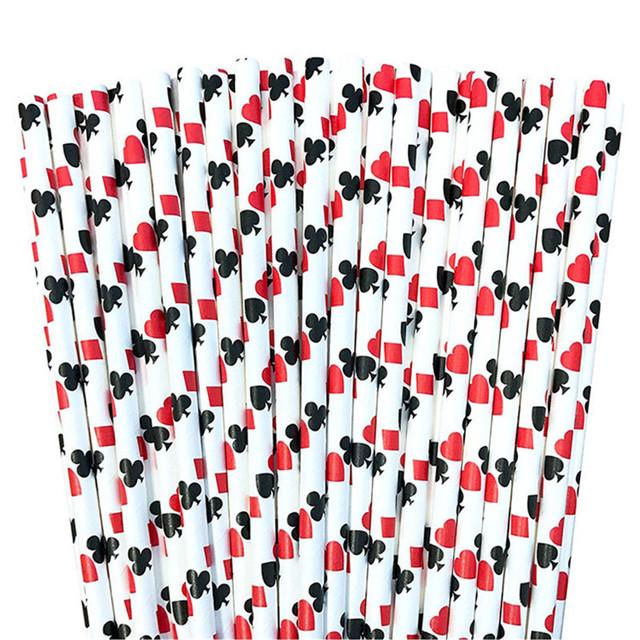 Kraft Paper Poker Cards Patterned Straws 25 Pcs Set