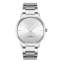 f4e3e84343fb Cuarzo Suizo de relojes de hombres ultrafino de acero inoxidable sólido  Ronda Reloj movimiento impermeable Reloj