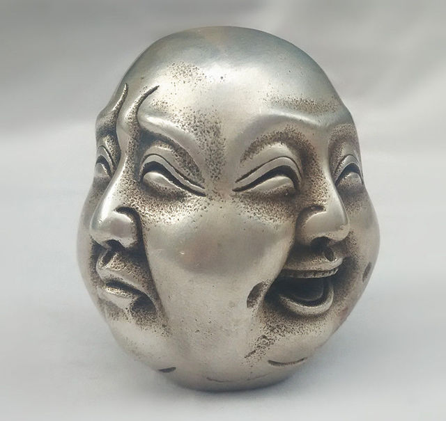Metall Handwerk Tibetische Silber 4 Gesichter Buddha Kopf Statue