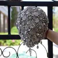 Crystal Bouquet Waterfall Rhinestones Jewelry Expensive Wedding Bouquet Handhold Bride Bouquet Buque de noiva artificiale