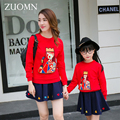 Korea Style Mother Daughter Dresses Red T-shirt Family Look Matching Outfits Kid Clothes Mom And Daughter Baby Girls Dress GH206