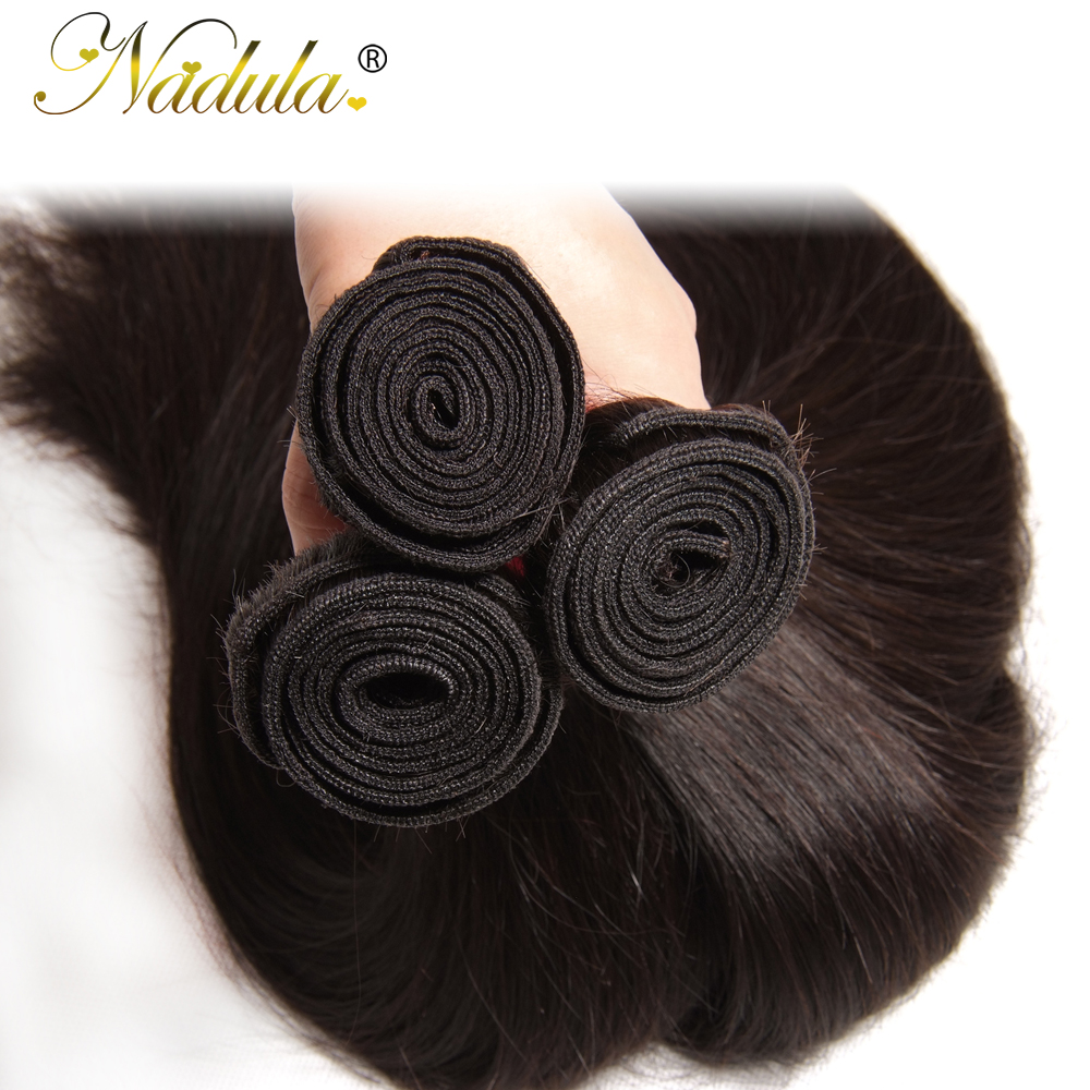 Nadula Hair 1pcs / 3Bundles / 4 Bundles Malaysian Straight Hair 100% - ადამიანის თმის (შავი) - ფოტო 4