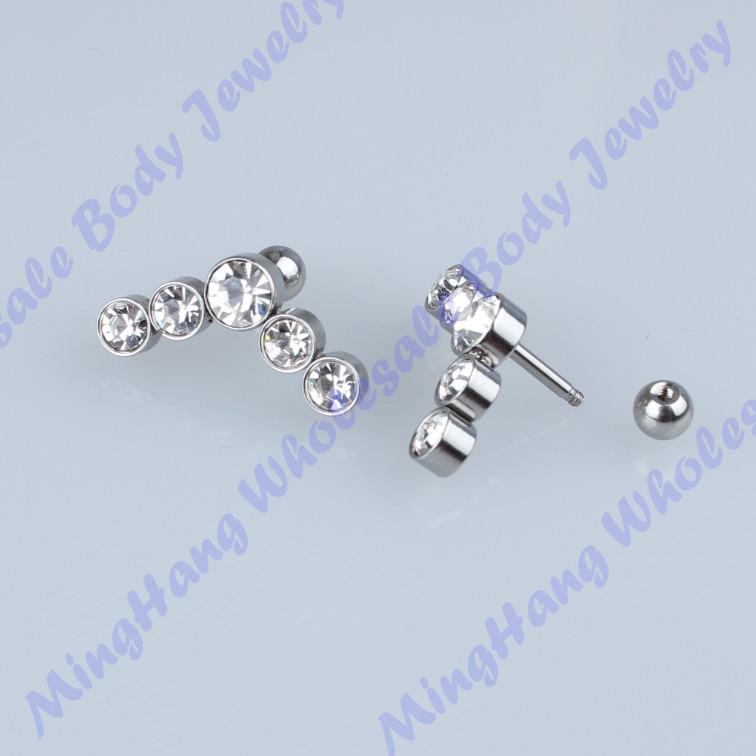 20pcs/lot 316L Surgical Steel Ear Studs Cartilage Earrings Tragus Helix Piercing 16 Gauges Ear Studs Lip Rings Jewelry