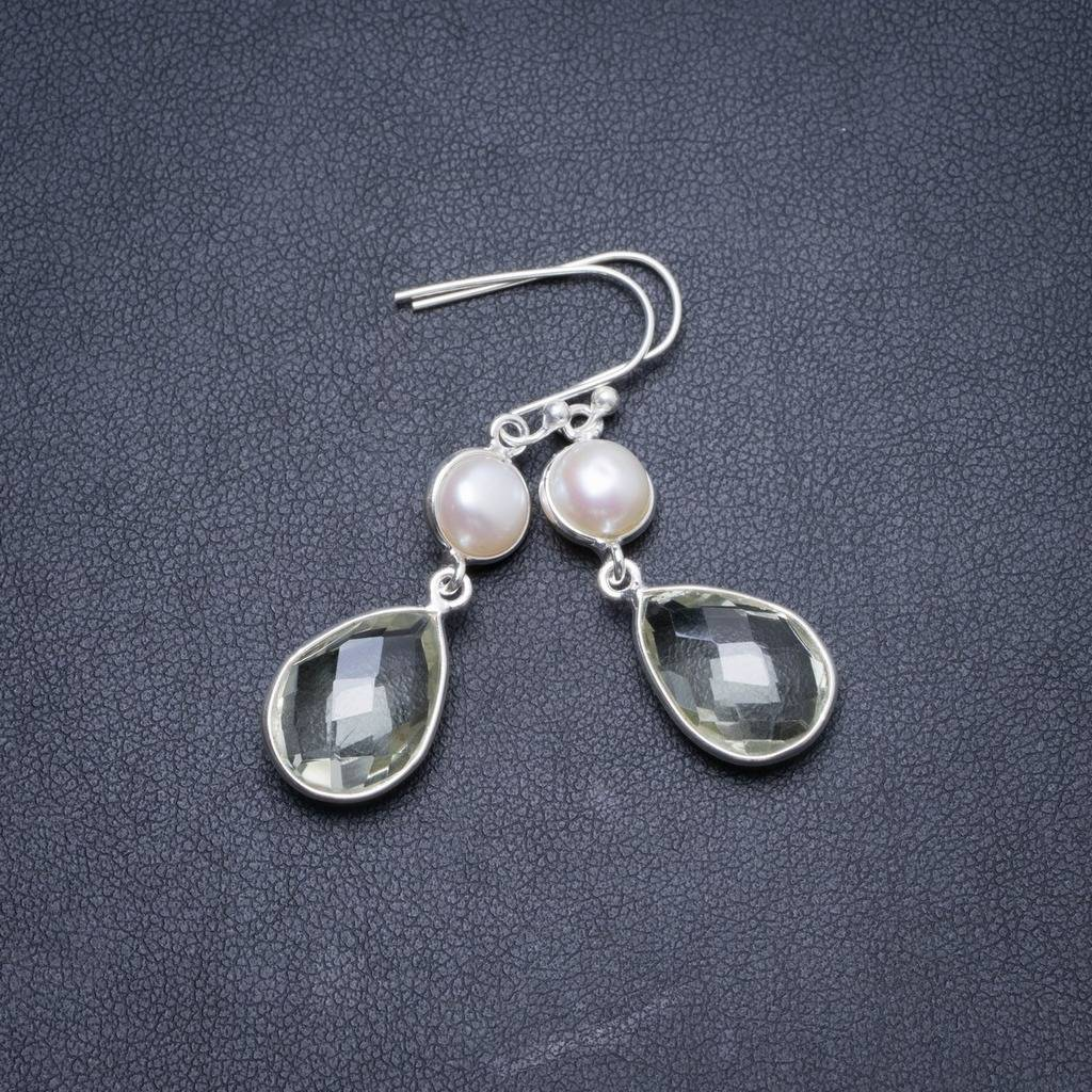 Natural Green Amethyst and River Pearl Handmade Unique 925 Sterling Silver Earrings 1.5