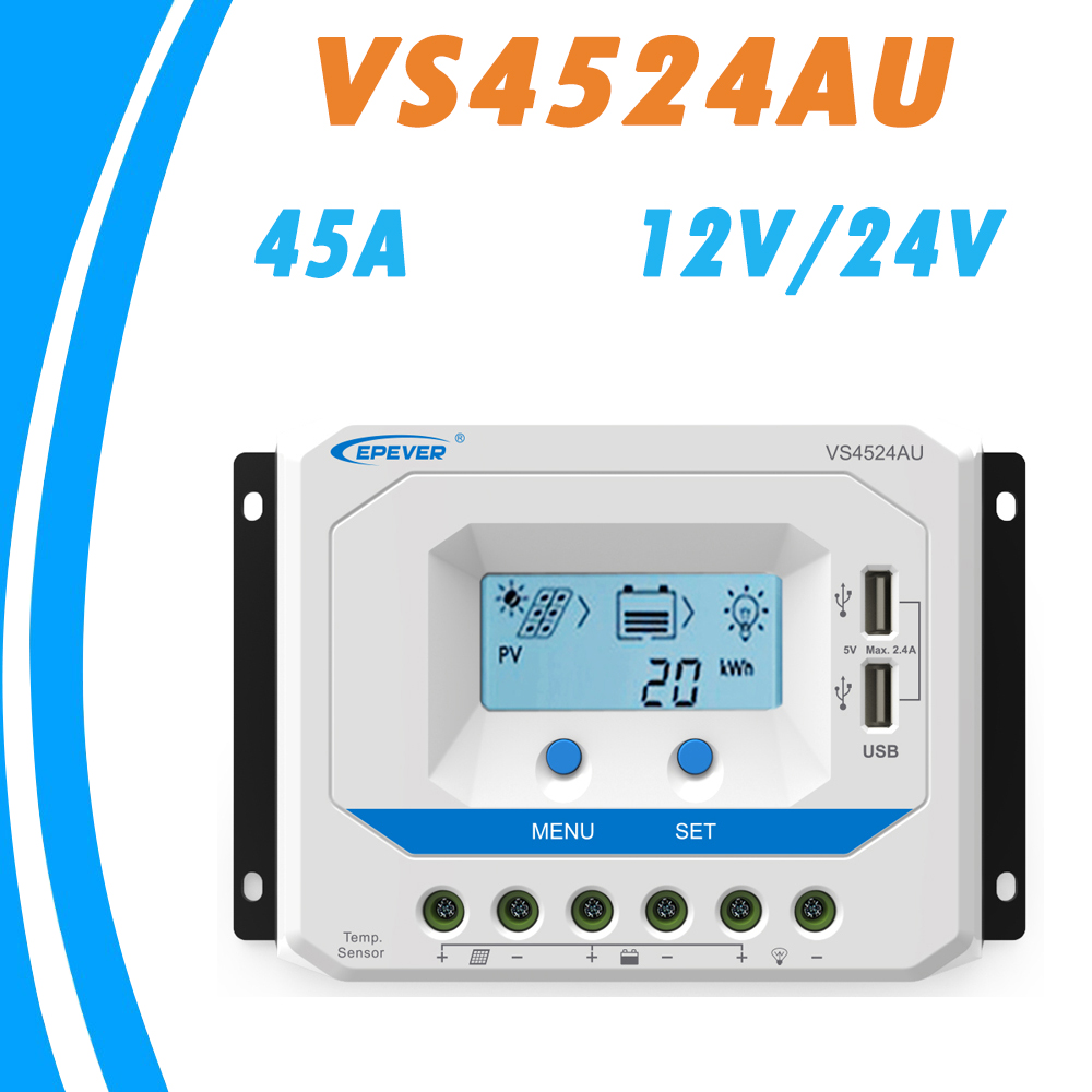 EPEVER 45A Solar Controller 12V 24V Auto VS4524AU PWM Charge Controller with Built in LCD Display