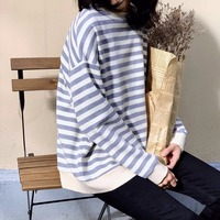 2018 Fall Women Cotton Hoodies Loose Long Sleeve O Neck Casual Striped Sweatshirts Femme Soft Home Pullovers Tops
