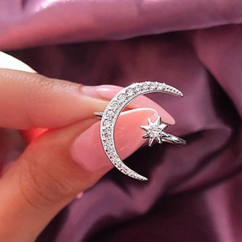 Fashion Rhinestones Inlaid Crescent Star Shape Opening Finger Ring Jewelry Gifts New Party Engagement Present