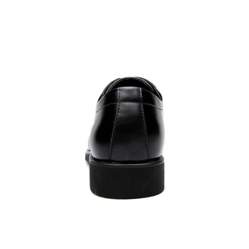 Roxdia couro genuíno dos homens sapatos de vestido formal trabalho de negócios masculino apartamentos sapatos oxford rxm063 tamanho 39-44