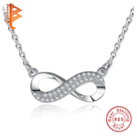 Pure 925 Sterling Silver Jewelry Pendant Necklaces For Women With White Zirconia Crystal Infinity Charm