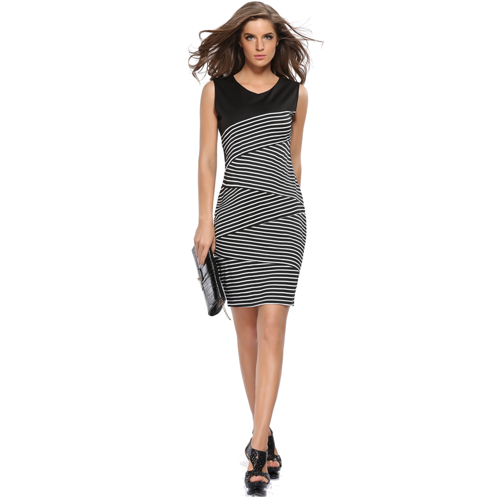 Women Dress Elegant Striped Hit Color Pencil Dress 2017 Sexy Casual Wear To Work Office Patchwork Slim Hip Bodycon Dresses