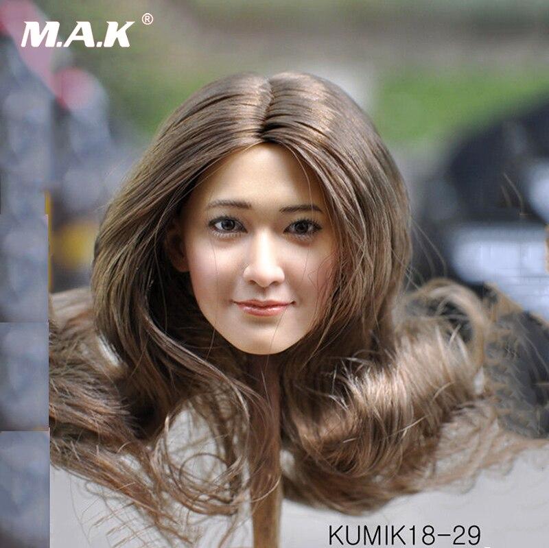 KUMIK KM18-29 женский завитки волос Глава Sculpt 1/6 Азии девушка модель головы F 12 ''объемная