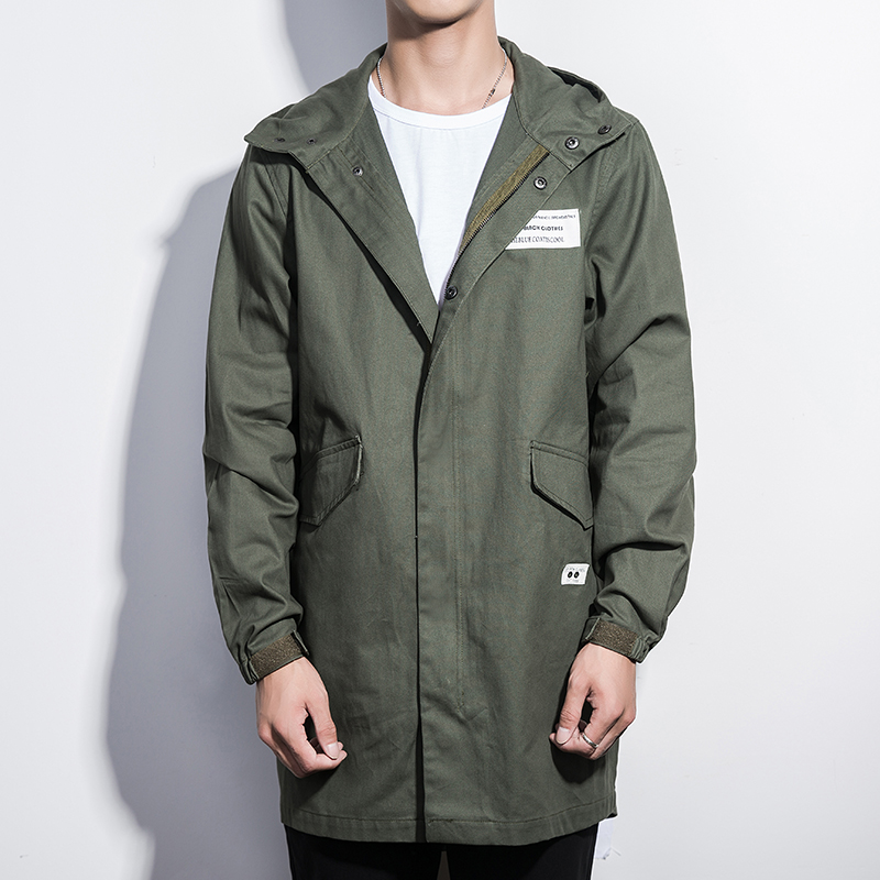 2017 Autumn Winter Jacket Coat Men Cargo Long Style Hooded Mens Windbreakers Cotton Jacket Male Army Greem Bomber Jacket Men