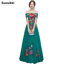 Suosikki 2017 New Bride Married Banquet Flower Evening Dress Boat Neck Floor-length  Formal Party Prom Dresses Long