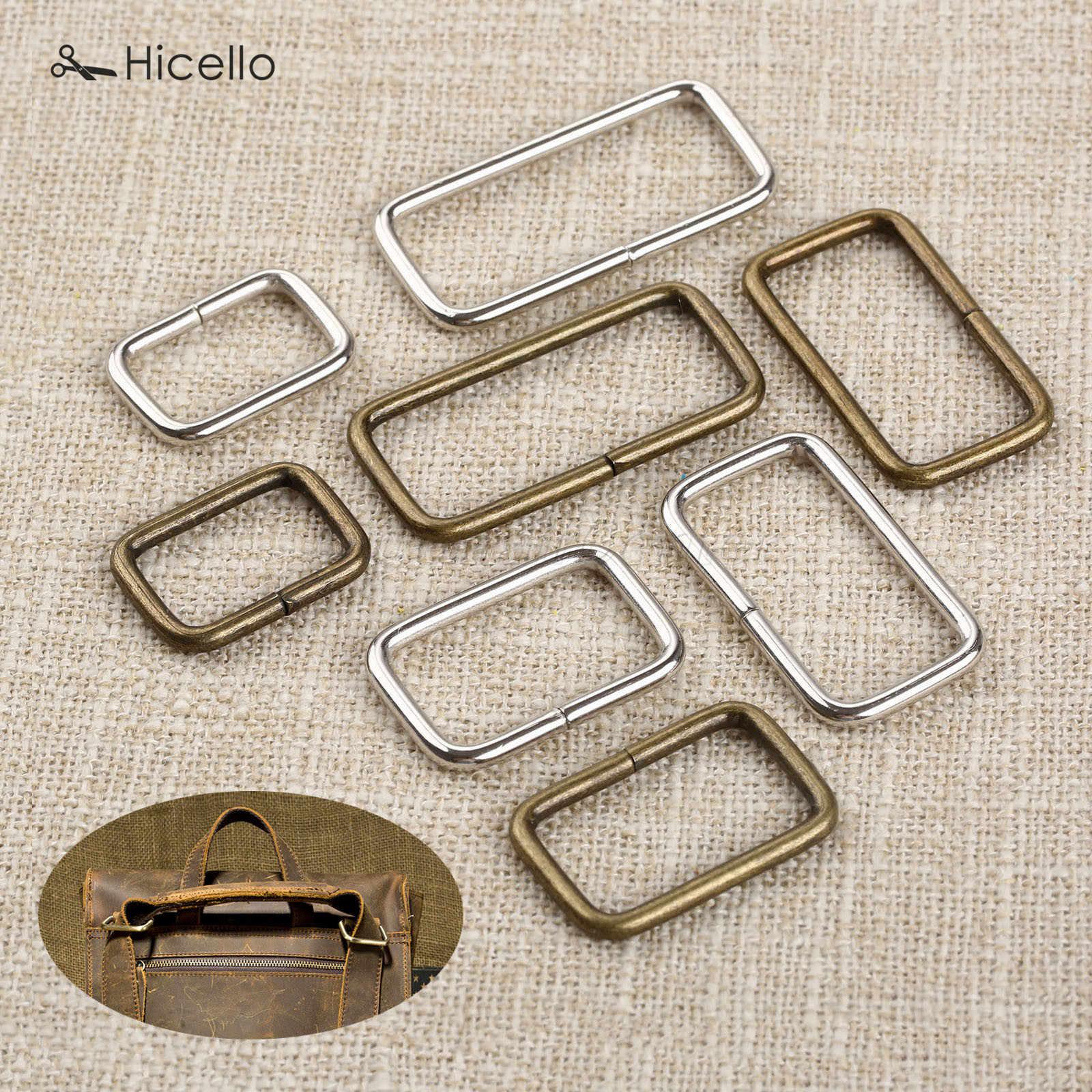 حزام تزيين الملابس 20 قطعة معدني بإبزيم حلقي مربع للأمتعة الخياطة اليدوية بأزرار محفظة من الفضة البرونز