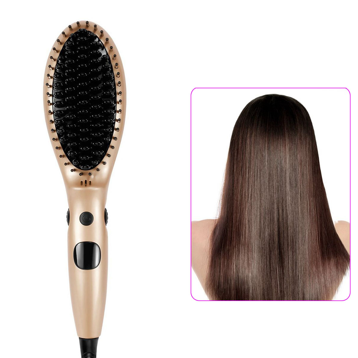 Electric Hair Straightener Comb Auto Lock Temperature Heating Hair Care Styling Straightening Brush With Accessories HJL