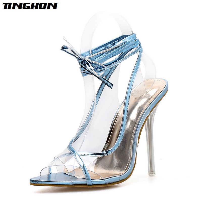 TINGHON Women Sweet PVC Pointed Toe Thin High Heels Sandals Transparent Gladiator Lace-Up Pumps Office Clear Silver Blue 35-40