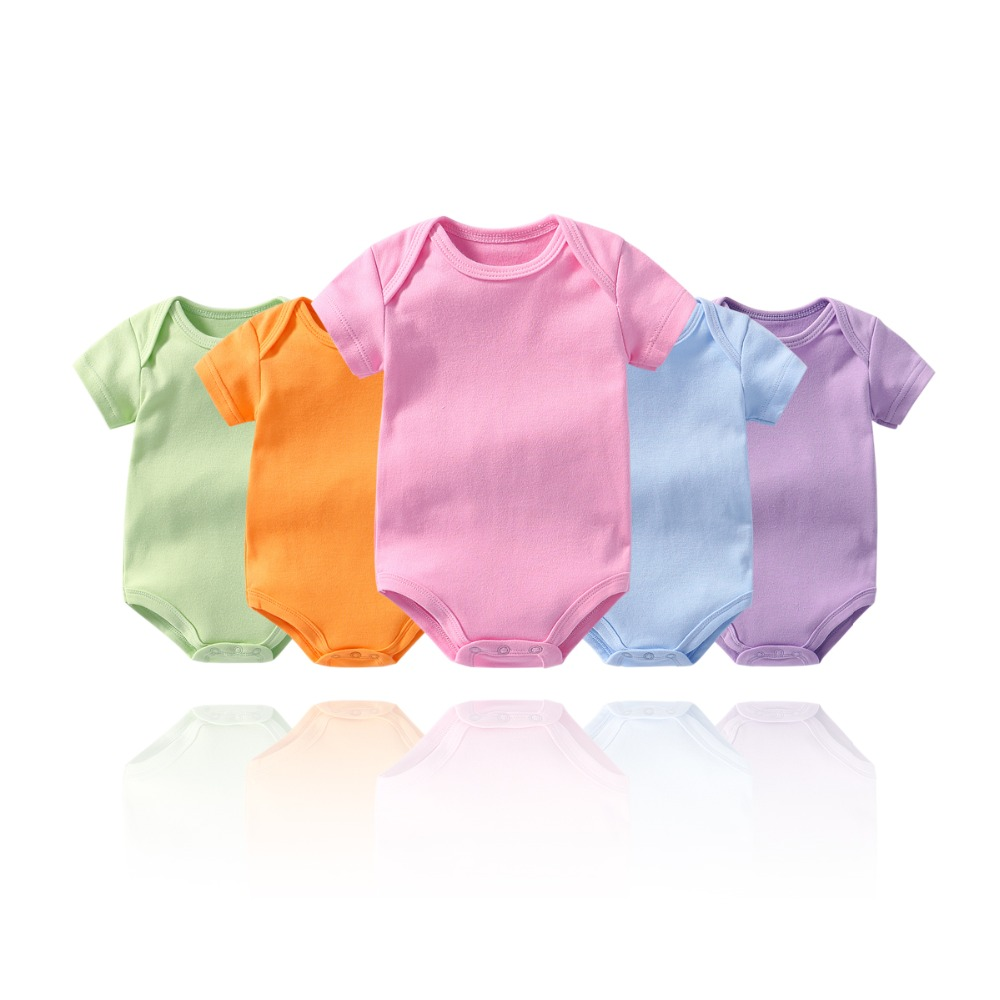 Baby Boys Girls Bodysuit 100% Cotton Infant Body Pure Color Short Sleeves Climbing Clothing Jumpsuits