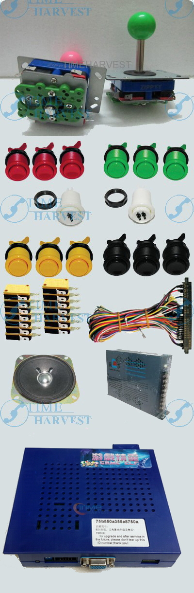 Arcade parts Bundles With 412 in1 PCB,16A Power Supply,L Joystick,Push button,Microswitch,Harness,Speaker for Arcade Machine