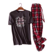 Plus rozmiar 100 bawełna Piżama mężczyźni pijama hombre męski Krótki rękaw casual mężczyźni Bielizna nocna pijamas zestawy piżamy dla mężczyzn 100kg tanie tanio z mialucce Literę O-Neck 2018-11-28 16 37 03 Przycisk Elastyczna talia Regularne Pajamas