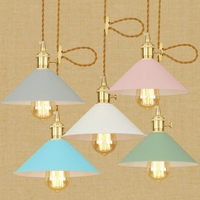 color single head office bedroom living room clothing shop Internet cafe retro switch with decorative pendant lamp