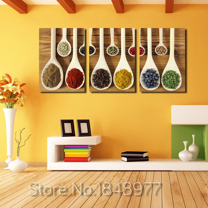3 Piece Modern Nordic Wall Art Decoration Spoon Spices Poster Print ...