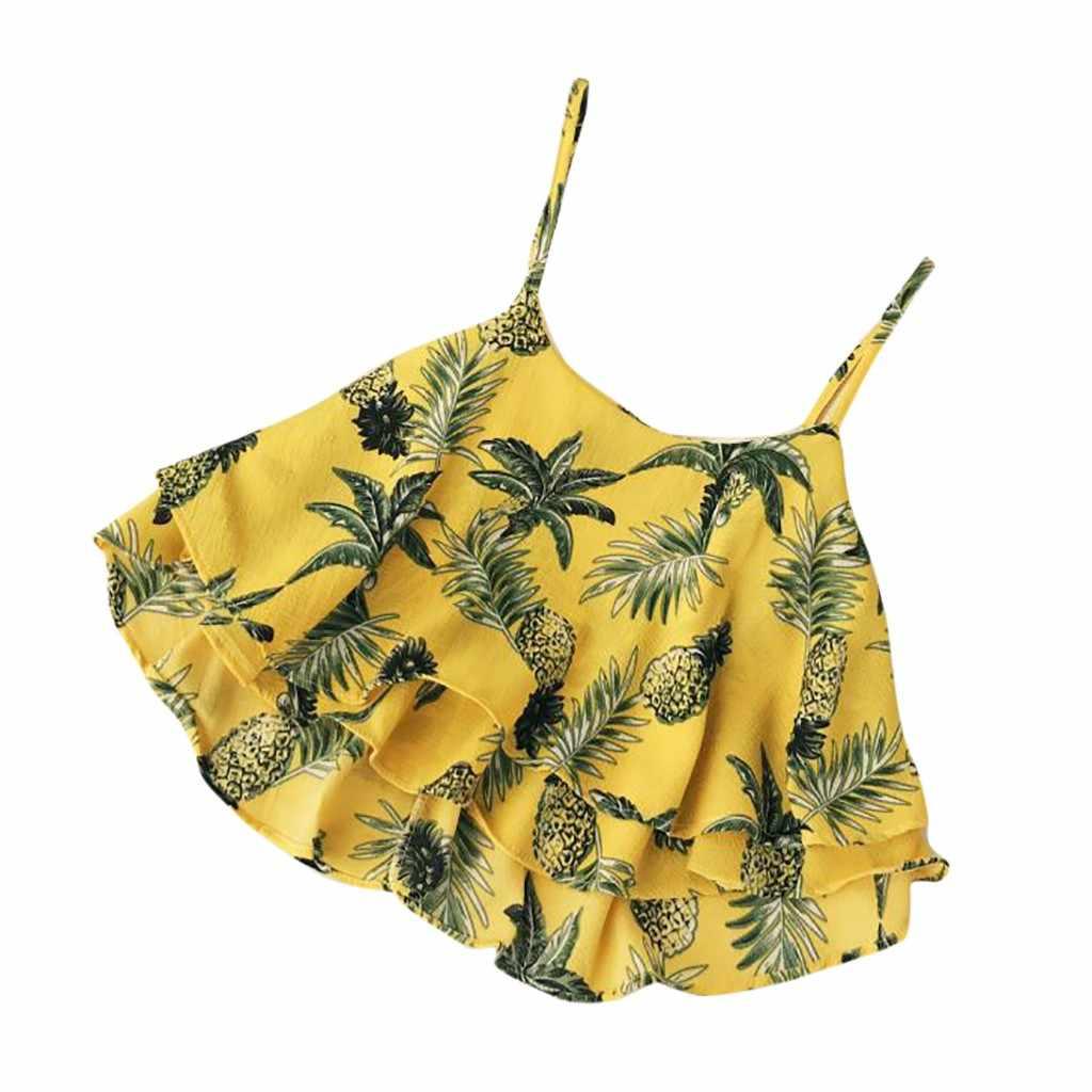 كبيرة الحجم المرأة بروتيل جديد طباعة متعدد الطبقات كشكش مثير مائل الرقبة قميص ضئيلة موضة ملابس مريحة بلا أكمام # S