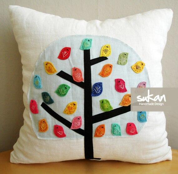 Cute Handmade Pillow Covers : Aliexpress.com : Buy #745 Creative cute canvas handmade applique bird home bedding sofa Cushion ...