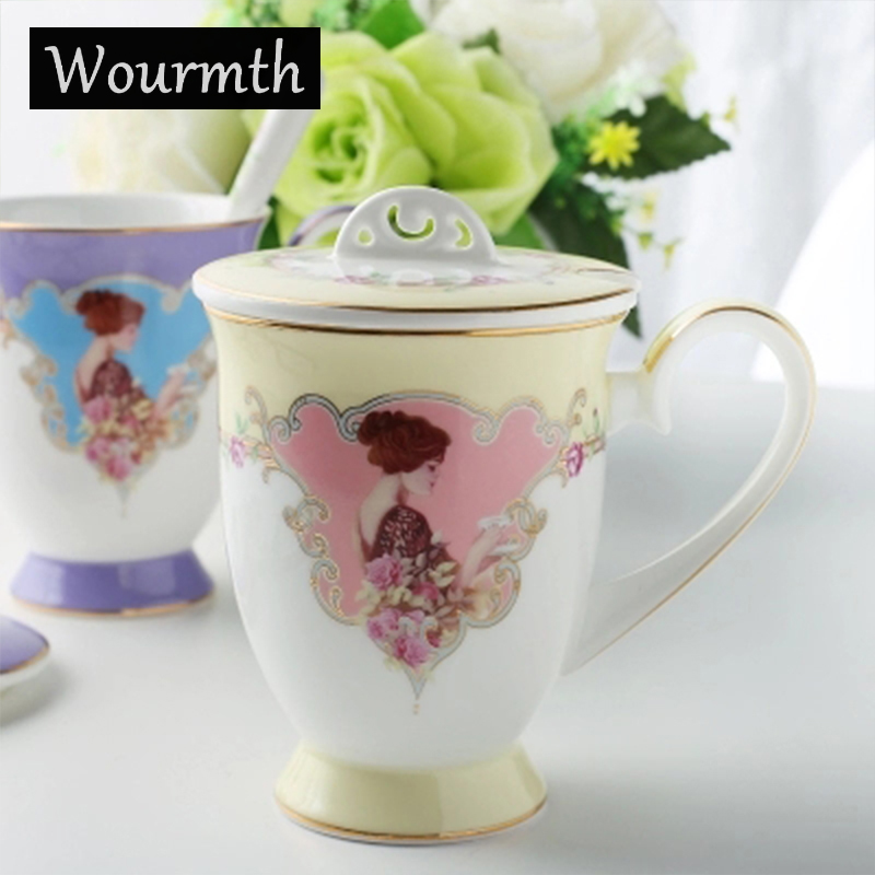 Wourmth Ceramic Mug Bone China Cup with lid 300ML beautiful woman Europe Travel Mug Phnom Penh Tea Milk Cups and Mugs Gifts