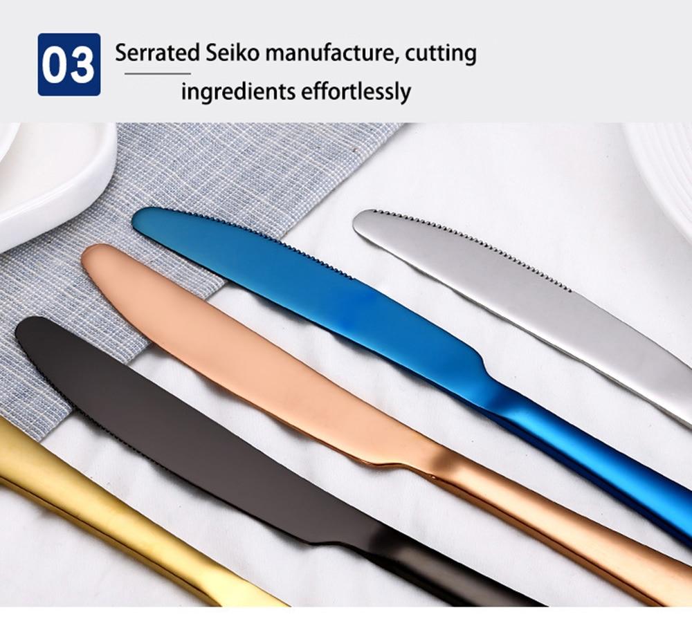 High-end talheres 4 pçs faca de aço
