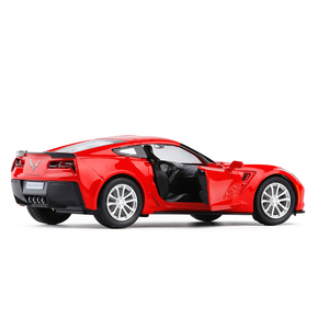 Image 2 - 1/36 C7 Metal Diecast Cars Toy With Pull Back Alloy Car Model Vehicle Miniature For Birthday Kids Toys Gifts