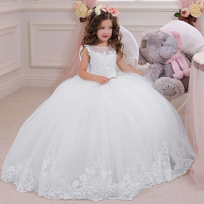 Stunning Sleeveless Lace Appliques Kids First Communion Gowns Sheer Crew Neckline Beaded Girls Tulle Puffy Ball Gown for Wedding elegant lace floral appliques flower girls dress cute mint green sleeveless pearls beaded kids pageant ball gowns for communion