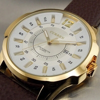2013 CURREN LATEST STYLE FASHION QUARTZ WATCHES HOUR DIAL DATE DAY CLOCK LEATER GOLDEN SORT MEN