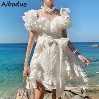 Beach Style Transparent White Dress for Summer 2019 High Quality Fashion Sleeveless Sashes Short Dress Polka Dot Women's Vestido