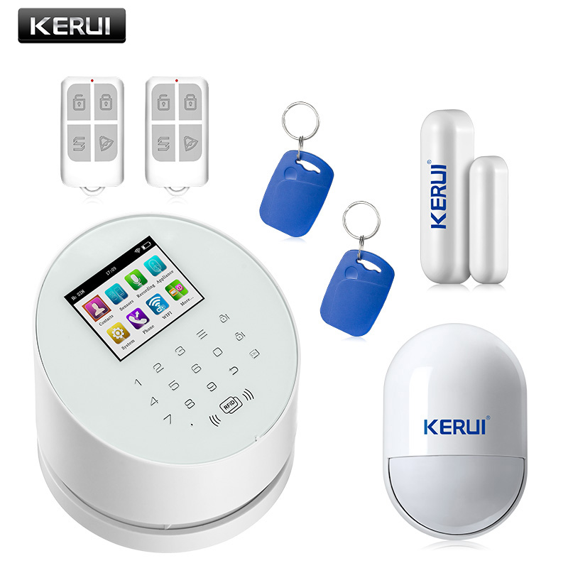 KERUI W2 touch keypad home burglar security WiFi alarm system with App IOS&Android remote control intelligent GSM alarm system intelligent home security alarm system with new door sensor pir detector app control sms gsm alarm system support rfid keypad
