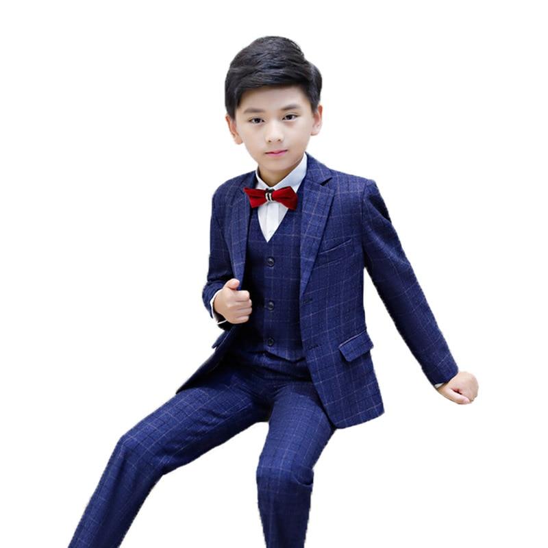 3 Teile/satz Jungen Anzüge Für Hochzeiten Jacken Formale Mantel + Hosen + Weste Kinder Anzug Baby Jungen Blazer Formalen Outfit Kinder Smoking L16