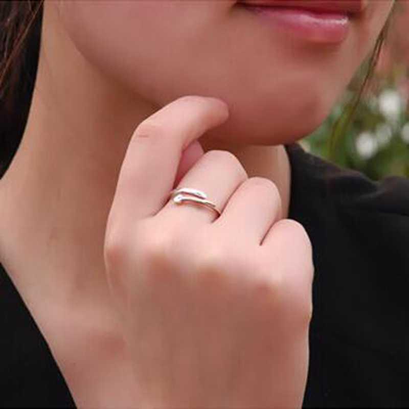OMHXZJ venta al por mayor de moda para amantes del corazón, pareja de Plata de Ley 925, ajuste abierto para mujer, anillo de hombre, regalo RG27