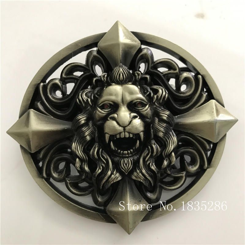 Retail 2017 New Style Good Quality Oval 3D Bronze Lion Head Men Belt Buckle With 101g Metal Cowboy Belt Head For 4cm Wideth Belt