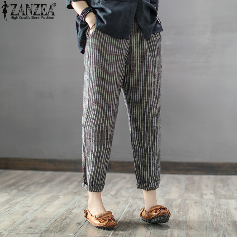 2020 ZANZEA Women High Elastic Waist Long Stripe Harem Pants Loose Trousers Cotton Linen Pencil Pantalon Casual Turnip Plus Size