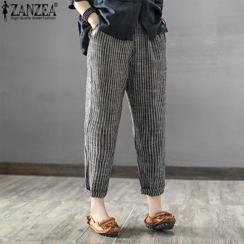 2021 ZANZEA Women High Elastic Waist Long Stripe Harem Pants Loose Trousers Cotton Linen Pencil Pantalon Casual Turnip Plus Size
