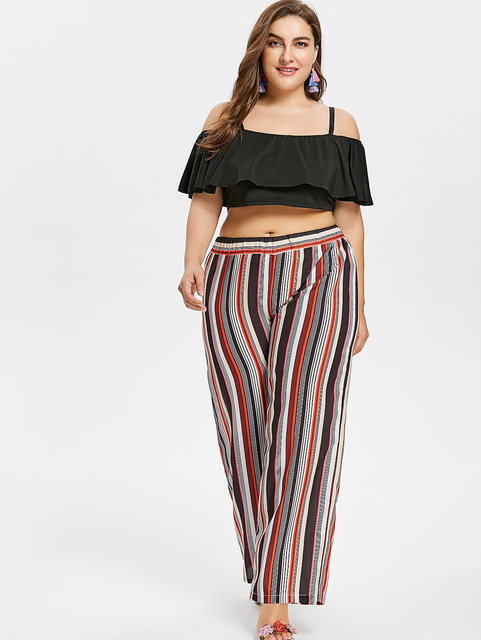 79b595c57f6 Wipalo Women Summer Plus Size 5XL Spaghetti Strap Crop Top And Striped High  Waisted Palazzo Pants