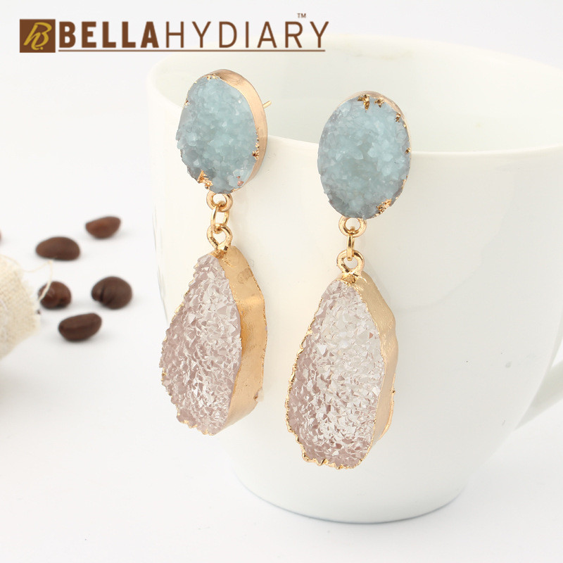 Korean Fancy Chic Stone Druzy Resin Earrings Long Drop Earrings For Women Jewelry Statement Gifts For Women Accessories Brinco 6