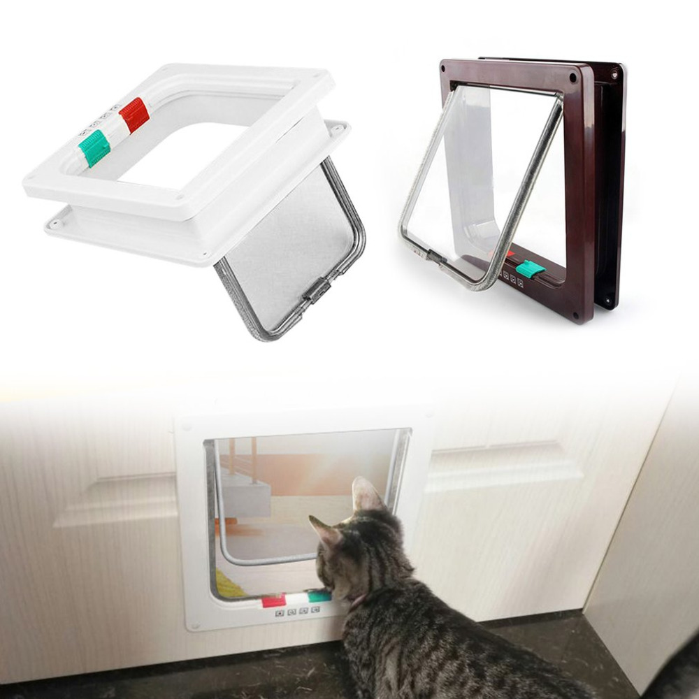 Professional ABS 4 Ways Style Large Medium Small Pest Cats Dogs Home Door Flap Locking Lockable Safe Gate ...