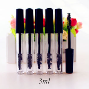 50pcs/lot 3ml Empty Mascara Tube Eyelash Cream Vial/Liquid Bottle Sample Cosmetic Container with Leakproof Inner Black Cap