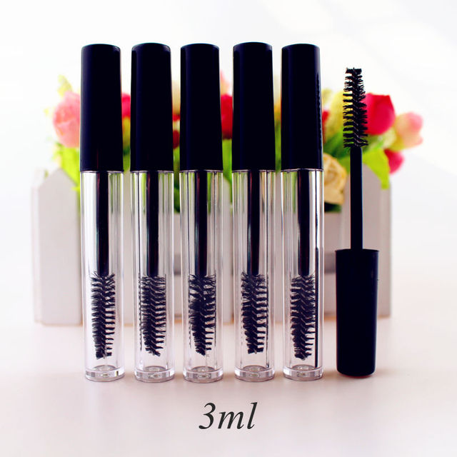 50pcs/lot 3ml Empty Mascara Tube Eyelash Cream Vial/Liquid Bottle Sample Cosmetic Container with Leakproof Inner Black Cap