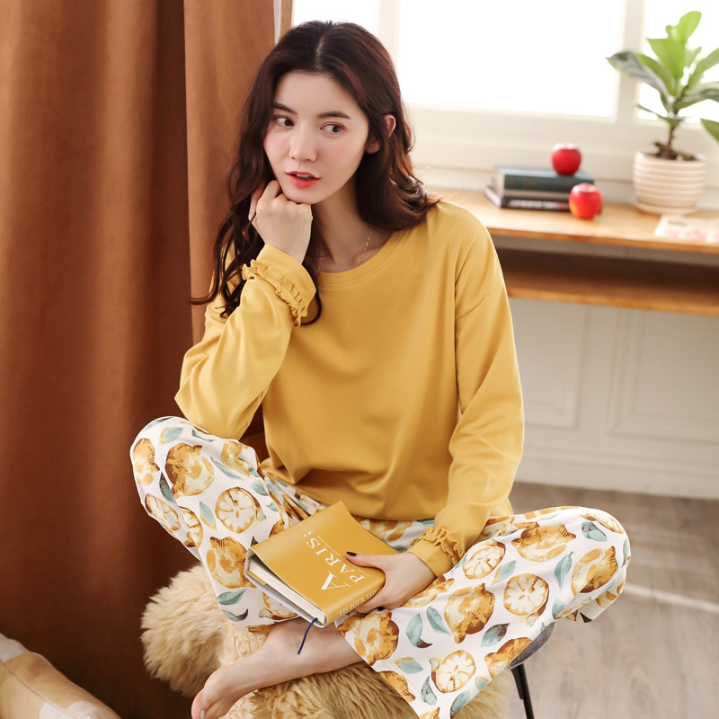 Women   Pajamas     Set   Cotton Yellow Top + Print Long Pants 2 Piece   Sets   Girl Fashion Comfort   Pajamas     Set   for women pijama mujer