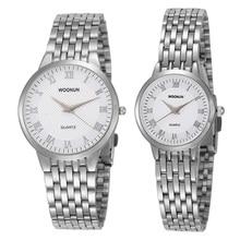 Woonun фирменные пару Часы для Для мужчин и Для женщин Нержавеющаясталь Кварц ультра тонкий Часы роскошные золотые часы комплект Best подарок