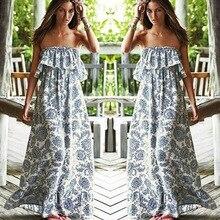 New 2017 Sexy Off Shoulder Long Maxi XL Dress Women BOHO Evening Beach Sundress vestidos Shipping From USA